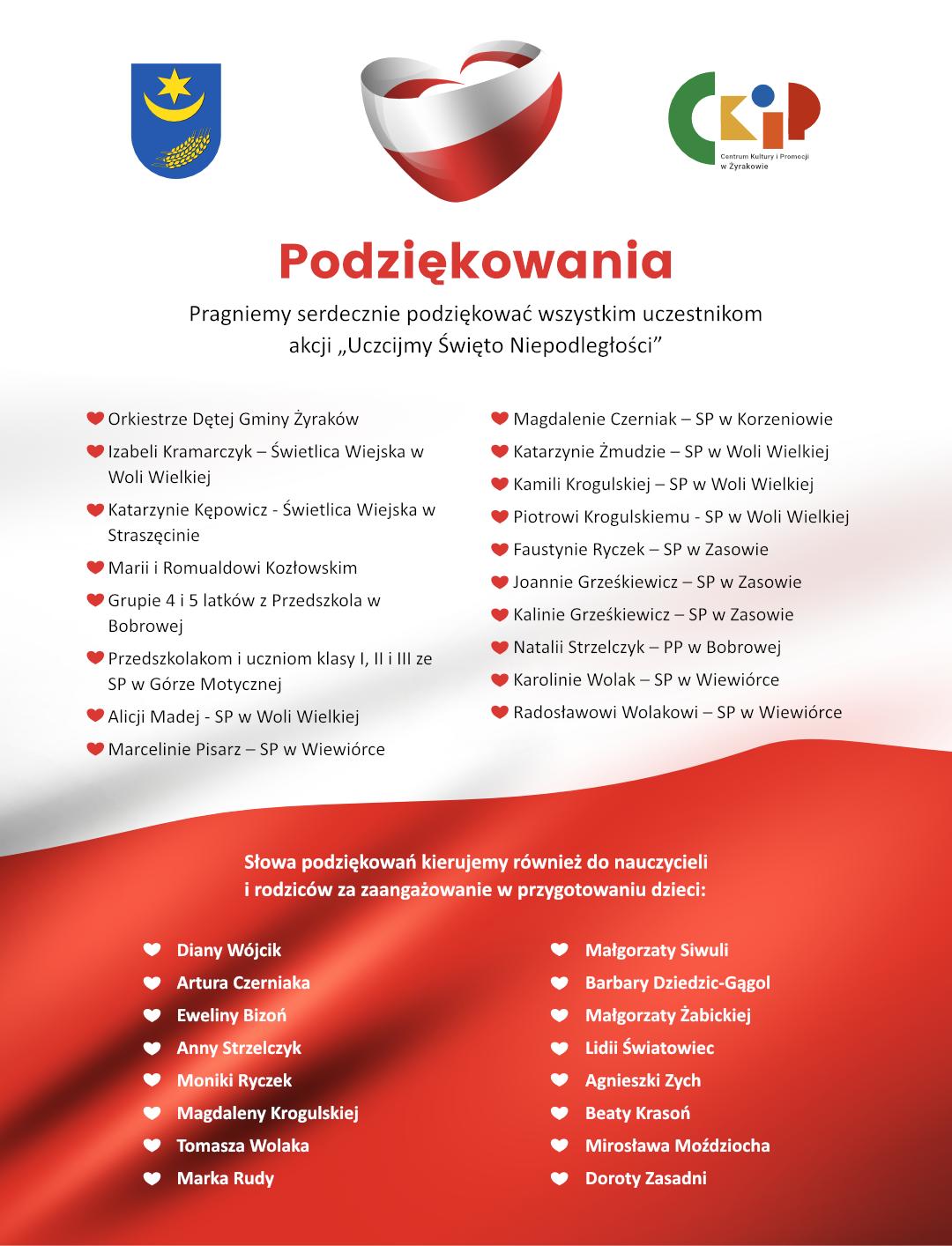 """Apla podziekowanie dla uczestników akcji """"Uczcijmy Święto Niepodległości"""" prowadzonej w Gminie Żyraków."""